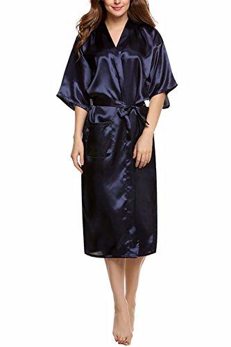 Dolamen Kimono Dames-ochtendjas, luxe glad satijn, nachtkleding badjas Robe Kimono negliggee zijderobe los slaappak, lange stijl