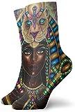 KLING Novedad Divertido Crazy Crew Sock Sekhmet Goddess of The Sun Impreso Sport Calcetines deportivos 30cm de largo Calcetines personalizados de regalo