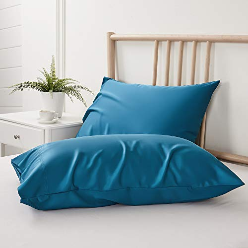 BEDELITE Bamboo Cooling Queen Pillow Cases Set of 2, Teal Pillowcases Breathable and Ultra Soft from 100% Natural Silky Bamboo Viscose, Cool Pillow Cases for Hot Sleepers, Night Sweats (20x30 Inches)