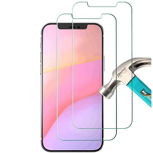 """[2 Pack] Compatible with iPhone 12 Pro 5G Tempered Glass Screen Protector (6.1""""), Ultra HD Transparent Protective Film [9H Hardness] [Anti-Fingerprint] [Anti-Scratch] [Bubble Free] for Most Cases"""