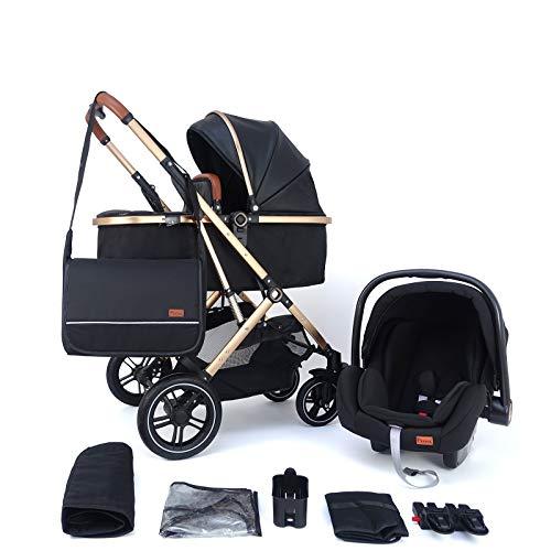 Pixini Kinderwagen (Lania 3in1 Kombikinderwagen sehr kompakt faltbar, inkl. Babywanne & Buggy & Auto-Babyschale - Alu-Rahmen - Wickeltasche/Regenschutz in gold/schwarz)