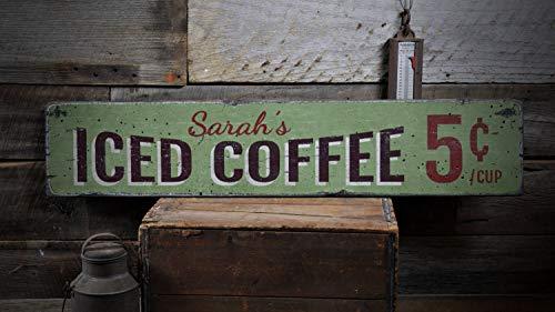 Letrero de madera de café helado, regalo de nombre personalizado para amantes del café, 5 centavos por taza, decoración de cocina Java, rústico hecho a mano, decoración de madera, 15 x 60 cm