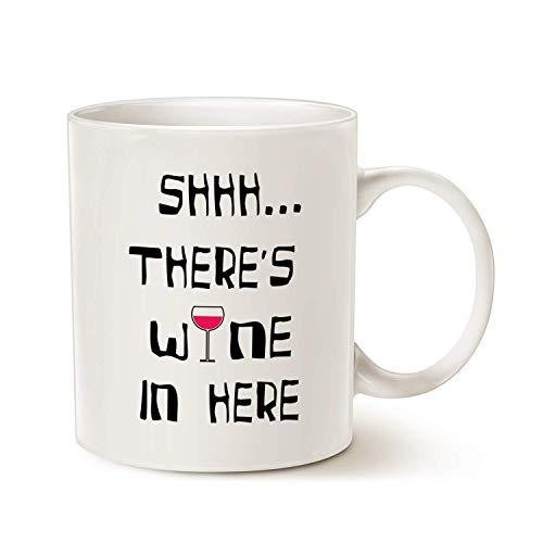 GINDU Taza Divertida del café, Shhh.Hay Vino aquí, Amigo único y Regalos Familiares, Blanco, 11 oz (Color : White)