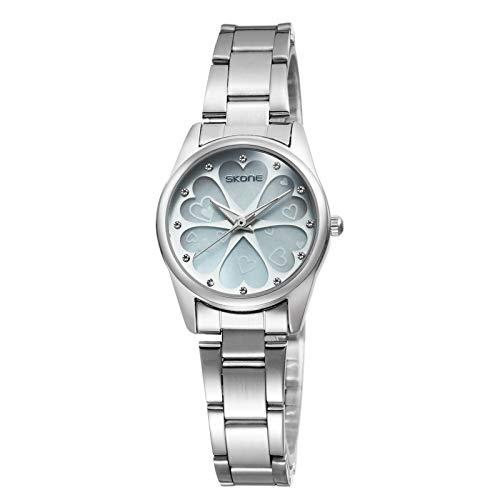 SJXIN schöne und stilvolle SKONE Uhr, Fashion Heart Shaped Blütenblatt Shell Dial Watch Steel Band Quarz Damenuhr Mode Uhren (Color : 3)