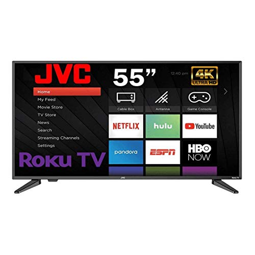 JVC Smart TV 55 Pulgadas LED 4K 3840 X 2160P 60Hz con Roku Integrado (Renewed/Reacondicionado)