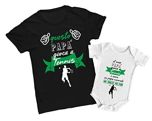 Coppia Tshirt Body papà e Neonato - Festa del papà - Questo papà Gioca a Tennis - Il Mio papà Gioca a Tennis - Idea Regalo Festa del papà - Body Neonato - Tshirt papà