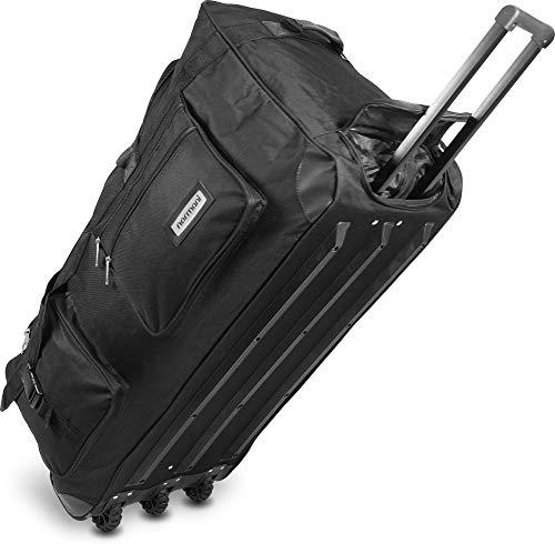 normani Leichte XXL Reisetasche Rollenreisetasche Trolley Sporttasche mit Rollen Farbe Schwarz / 150 Liter
