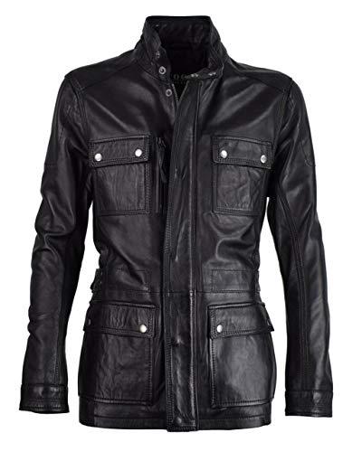Lange Herren Lederjacke - M/65 Fieldjacket - echtes Leder - Military - Safari Style, Größe:54, Farbe:Schwarz