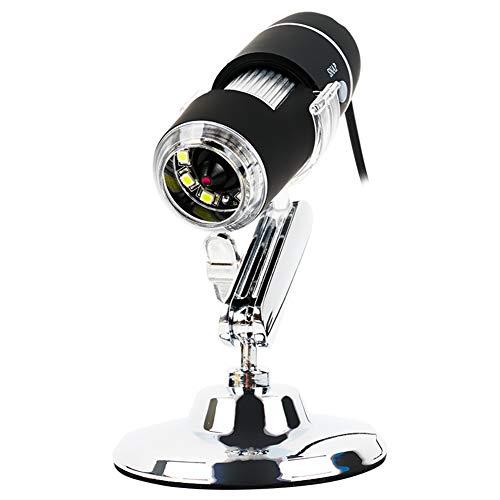 JANEFLY USB-1600X vergroting microscoop met 8 instelbare leds licht en 360 ° draaibare metalen standaard, gemakkelijk voor experiment learning om te werken