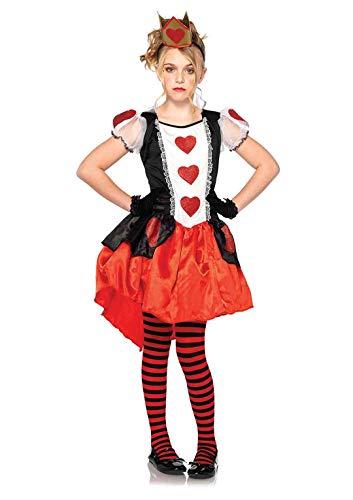 LEG AVENUE C48205 - Kinderkostüm Set Wunderland Königin, Größe S, schwarz/rot
