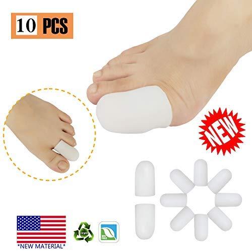 Protector de dedo del pie de gel para ampollas, maíz, uñas de los pies, pérdida de las uñas, alivio del dolor de fricción y mucho más.(Blanco, M)