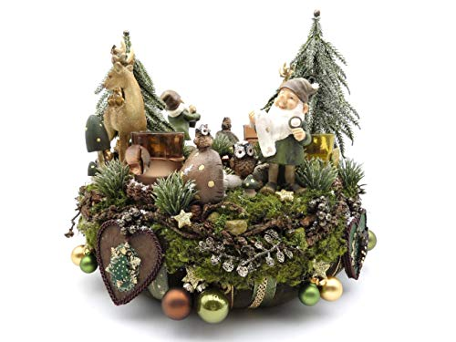 Adventskranz WALDFRIEDEN grün-braun-gold Teelichter Wichtel Landhaus Weihnachtskranz Hirsch Dekoration Weihnachten Handmade Adventsdeko Eule