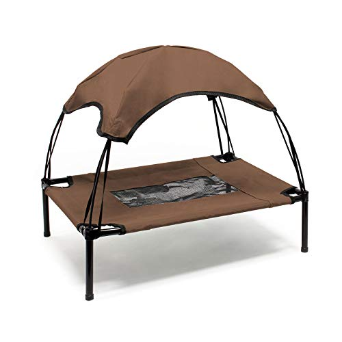 WilTec Portable Outdoor Relax Pet Bed Canopy Dog Bed L Brown