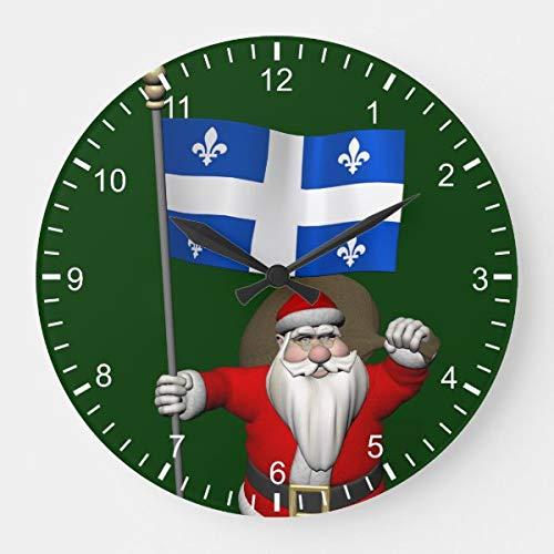 Reloj de pared redondo Papá Noel letrero de Quebec CDN funciona pilas silencioso redondo de madera contrachapada decoración del hogar para la cocina sala de estar dormitorio u oficina 38 x 38 cm
