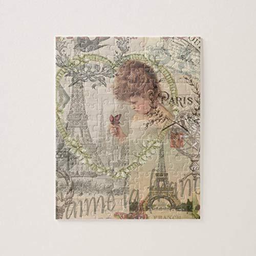CICIDI Vintage Paris France Collage Jigsaw Puzzle 1000 Pieces for Adult, Entertainment DIY Toys for Graet Gift Home Decor