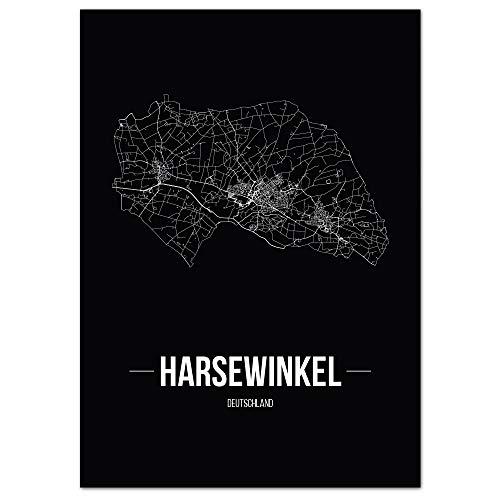 JUNIWORDS Stadtposter, Harsewinkel, Wähle eine Größe, 40 x 60 cm, Poster, Schrift B, Schwarz