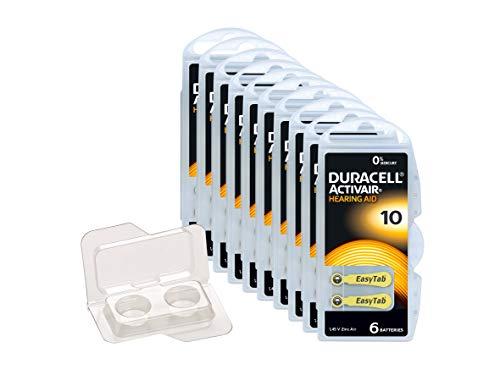 Duracell Easytab/Activair Typ 10 Hörgerätebatterie Zinc Air P10 PR70 ZL4, Big Box Pack, 60 Stück