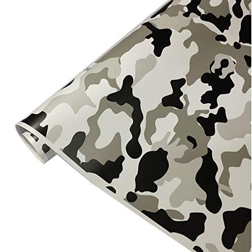 8,50€/m² Camouflage Autofolie Selbstklebend mit Luftkanäle Schwarz Weiß Grau Folie #6 (100cm x 152cm)