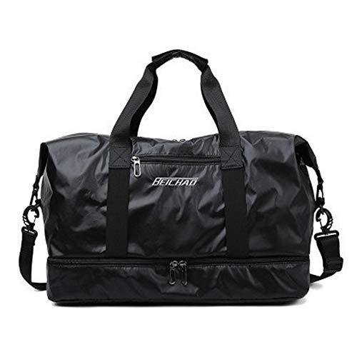 Shiwen Reisetasche Reisetasche Reisetasche Tragbar Trocken und Nass Trennung Gepäck Tasche Aufbewahrungstasche Große Kapazität Custom, Schwarz