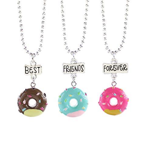 Hakka 3 Piezas de Collar de Amistad Set Regalos para Mejores Amigos Colgantes de Aleación en Forma de Rosca Collar de Joyería para Niñas Niños