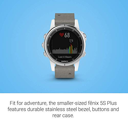 Garmin Fenix 5S Plus Training GPS (42mm) (White with Suede Band) Running Watch Bundle with Charger + Screen Protectors + More 5