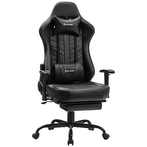 VON RACER Massage Gaming Chair with Pull-Out Footrest, Swing Swivel PU...