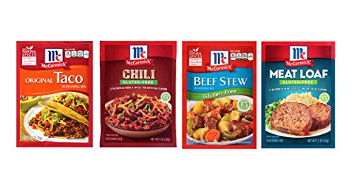 McCormick Seasoning Gluten Free Variety Pack- Beef Stew, Meatloaf, Chili, Taco Seasoning- Pack of 4