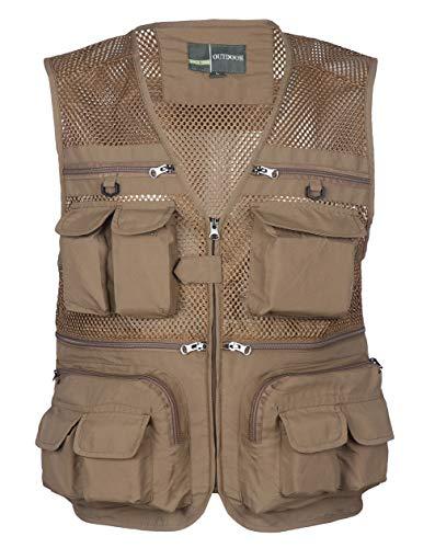 Yingqible, chaleco de varios bolsillos para hombre, chaleco de pesca, caza, senderismo, chaleco Marrón marrón S