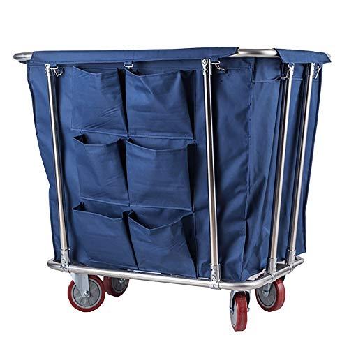 Unbekannt YXX-Trolley Wäschekorb-Sortierer-Organisator-Laufkatze-Wagen mit leisen Rädern, entfernbaren Oxford-Stoffbeuteln, Edelstahlklammer (Farbe : Blau)