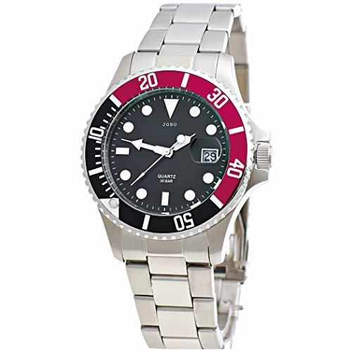 JOBO Reloj de pulsera para hombre de cuarzo, analógico, de acero inoxidable,