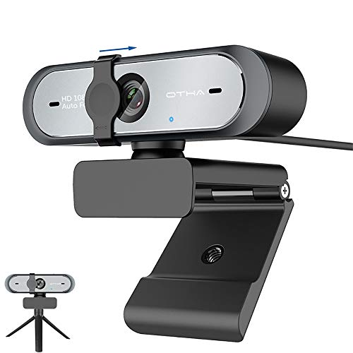 OTHA Webcam with Microphone Autofocus Full HD 1080p/60fps for OBS Video CallingUSB Webcam Desktop Camera Computer PC Webcam with Privacy Cover/Rotatable Clip