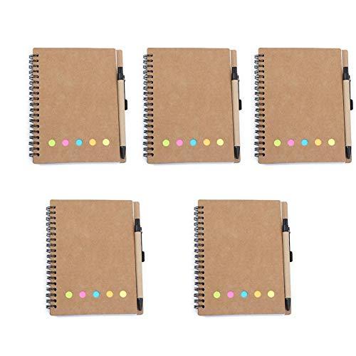 Delan 5er-Set Notizbücher mit Trennwänden, selbstklebend, liniert, für die Schule...