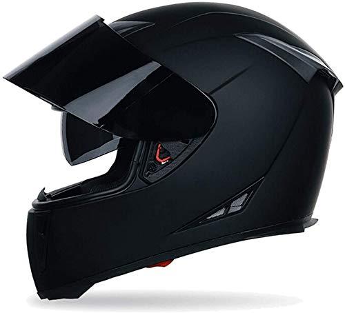 LLDKA Man Helm Motorrad und Motorroller, ECE genehmigt, Doppel Visier mit UV-Schutz, 57-64cm,Tea Color,L
