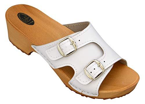BeComfy Holzpantoletten für Damen Clogs Schuhe mit Absatz Holzschuhe Sandalette Leder Gartenclogs Pantolette Schwarz&Weiß (Weiß, Numeric_40)