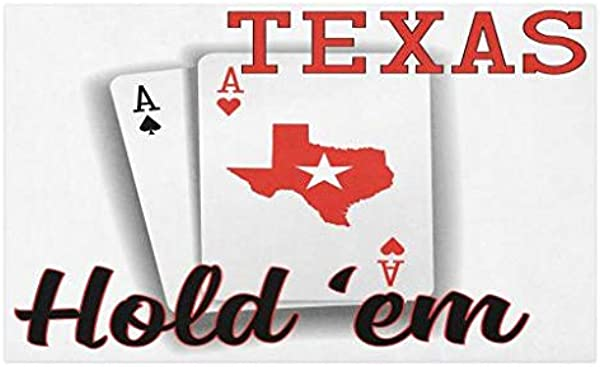 Lunarable Poker Tournament Doormat Texas Hold Em Theme Pair Of Aces With Map Of The Land Winning Hand Decorative Polyester Floor Mat With Non Skid Backing 30 X 18 Red Black White