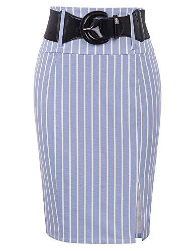 Womens Plus Size Stripe Pencil Skirt Party Skirt Side Split, Light Blue-Stripe, XX-Large