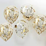 Baby Shower Ideas Baby Shower Decorations Confetti Balloon Decoration Gold 'Oh Baby!', 12' Set of 5