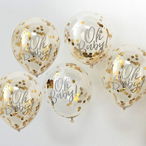 "Baby Shower Ideas Baby Shower Decorations Confetti Balloon Decoration Gold 'Oh Baby!', 12"" Set of 5"