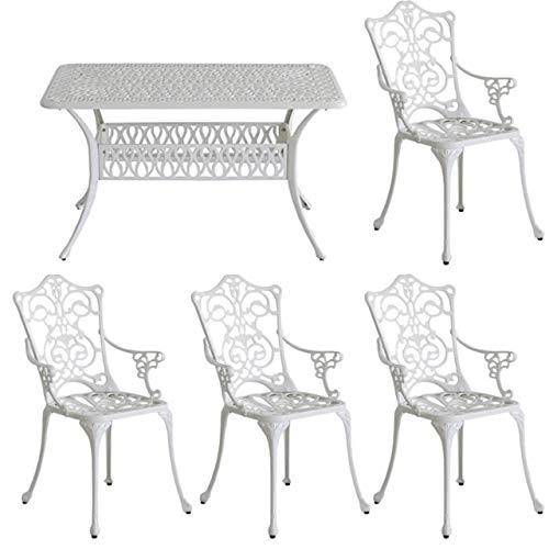 ガーデンテーブルセット 幅132 アルミ 鋳物 5点セット 屋外 庭 テラス アイボリーホワイト