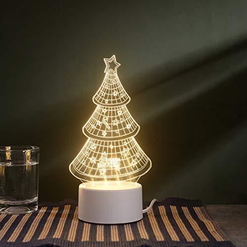 Neue 3D kleine Tischlampe LED Geschenk Licht Fernbedienung kreative warme Schlafzimmer Nachttischlampe USB Nachtlicht Weihnachtsbaum USB Monochrom