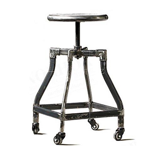 Barkruk barkruk industriële kruk met wieltjes, barkruk van massief hout, metalen ijzeren krukken kunnen oude krukken optillen en herstellen Een