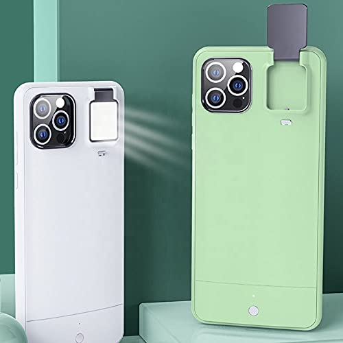 Selfie Flashlight Ring Light Up Pop Led iPhone 11 Pro Max Case GeewThioun 3 Ring Light Modes Luminous Rechargeable Flip Cover for Women (White, iPhone 11 Pro Max)