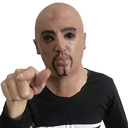 Novità Maschera di Halloween Festa in lattice Maschera di testa realistica umana, Maschera di testa in lattice divertente Maschera realistica di uomo forte Terrificante vecchio maschio