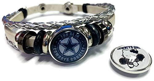 NFL Dallas Cowboys Hello Kitty Silver Leather Bracelet W/2 Logo Snap Jewelry Charms