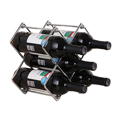 Estante de Vino de pie Soporte de Metal 5 Botellas apilable Completamente ensamblado Organizador de Cocina Soporte de Almacenamiento para decoración del hogar