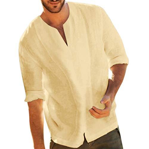 TUDUZ Camisetas Hombre Manga Larga,Camisa Casual de Algodn y Lino en Color Liso, Tops Mangas Siete Cuartos, Ropa con Cuello en V (Caqui, XXXL)
