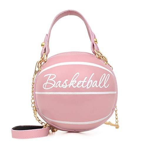 Frauen Ballform Mini Leder Handtasche Umhängetasche Mode Reise Umhängetasche Tote (Rosa Basketball)