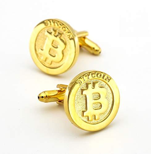 Diseño de Monedas B & ItCoincufflinks para Hombres Calidad Material de Cobre Color Dorado Puños de Color, para Novio, Marido, Padre