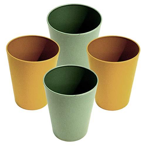 AMTBABY Vaso reutilizable de fibra de bambu y almidon de maíz para niño. Juego de 4 tazas biodegradables y organicas. Vajilla para picnic, camping, agua, zumo, leche, y toda la familia. Verde - Ocre