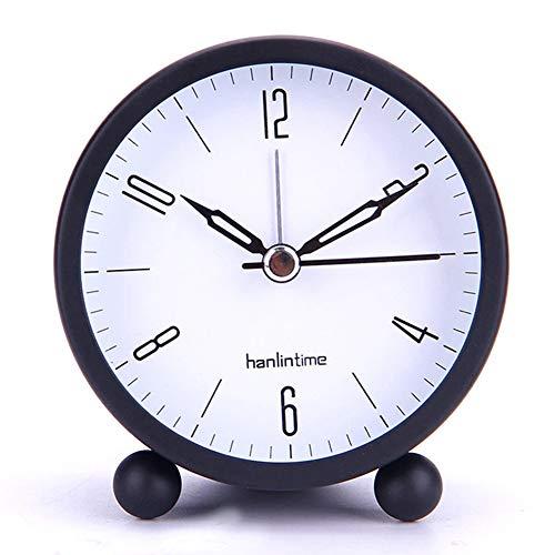 Zuoox Luminous - Despertador, reloj de escritorio redondo de 4 pulgadas, silencioso, luminoso, modo despertador (negro)